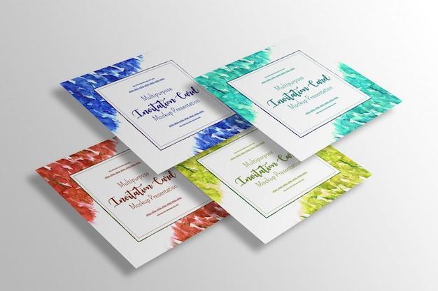 Tarjeta de invitación cuadrada multiusos maqueta de presentación.