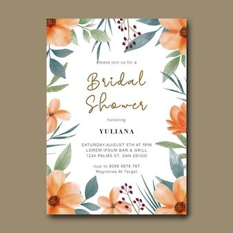 Tarjeta de invitación de despedida de soltera con ramo de flores de acuarela