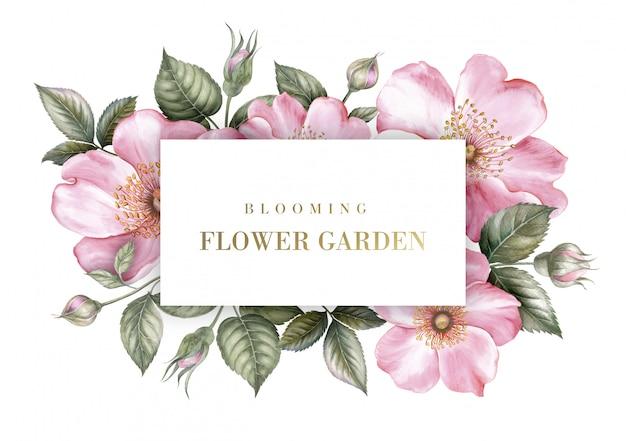 Tarjeta de invitación con la ilustración botánica de sakura.