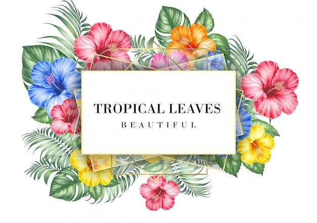 Tarjeta de invitación tropical con flores de hibisco