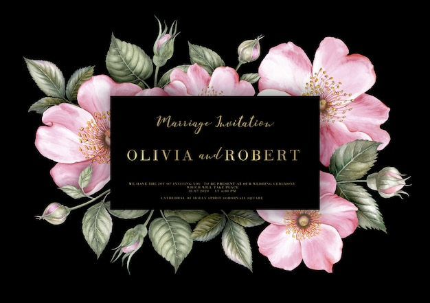 Tarjeta de matrimonio con flores de sakura