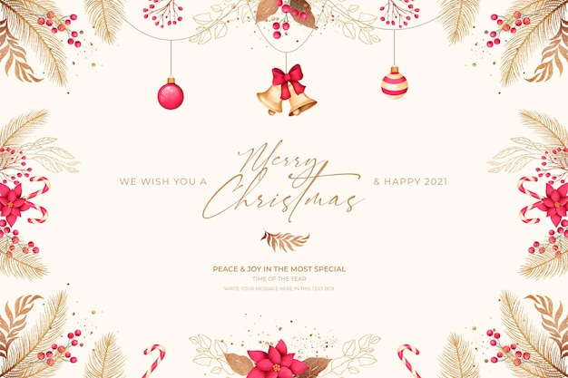 Tarjeta de navidad mínima con adornos rojos y dorados.