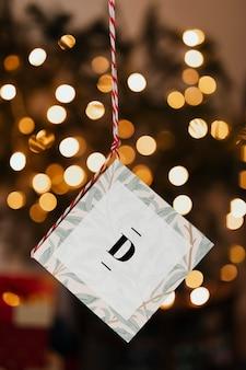 Tarjeta de navidad con plantilla de alfabeto d