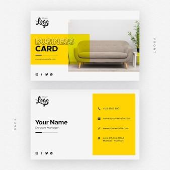 Tarjeta de presentación para empresa de muebles y decoración del hogar.