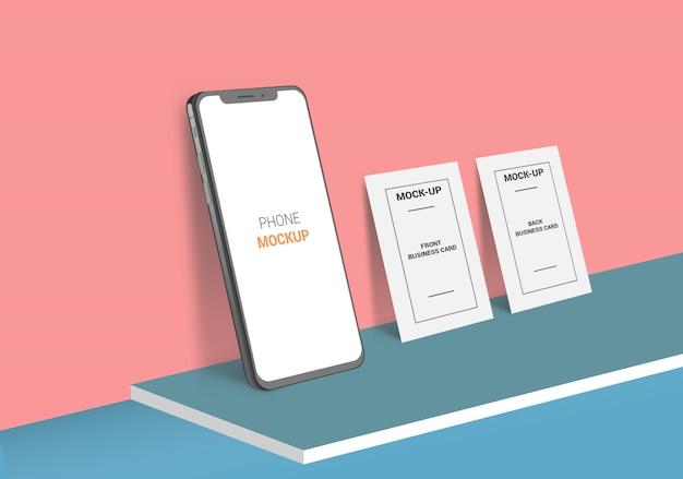 Tarjeta de presentación y maqueta de teléfono