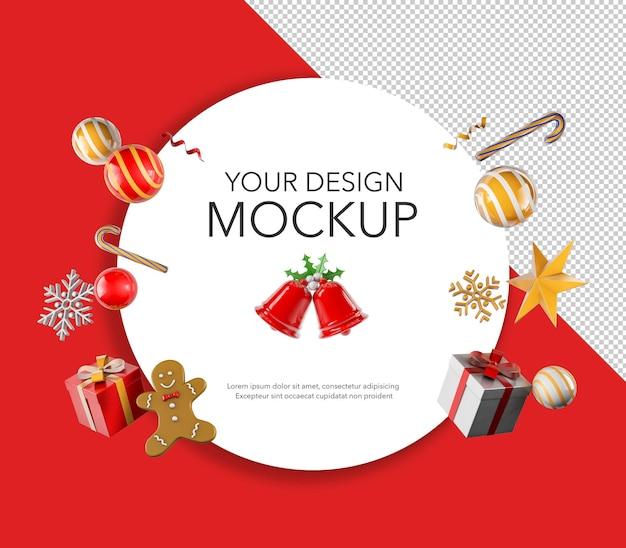 Tarjeta redonda para mensaje o saludo navideño, maqueta