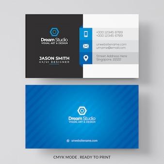 Tarjeta de visita azul y blanca