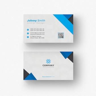 Tarjeta de visita blanca con detalles azules y negros