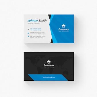 Tarjeta de visita blanca con detalles en negro y azul