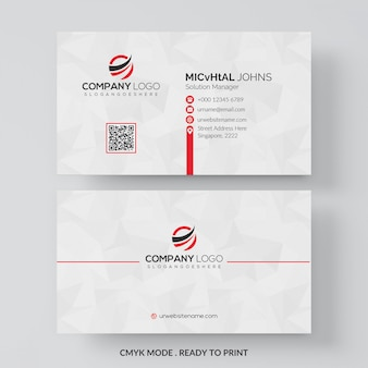 Tarjeta de visita blanca con detalles en rojo.