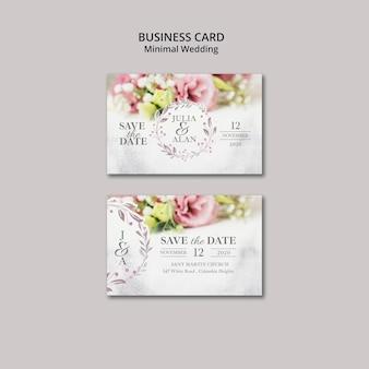 Tarjeta de visita de boda minimalista floral