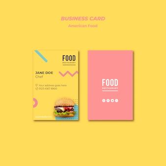 Tarjeta de visita para comida americana con hamburguesa