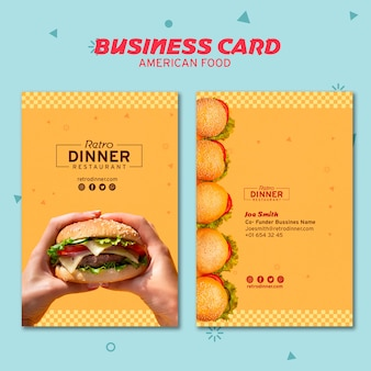 Tarjeta de visita del concepto de comida americana