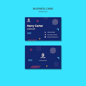 Tarjeta de visita con diseño azul y puntos con líneas