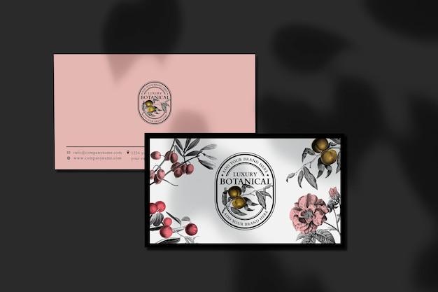 Tarjeta de visita editable psd en lujo rosa y estilo vintage