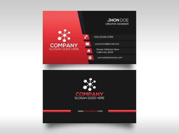 Tarjeta de visita elegante corporativa roja