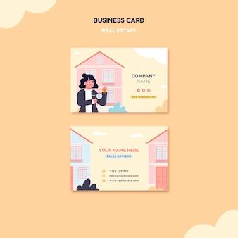 Tarjeta de visita inmobiliaria ilustrada