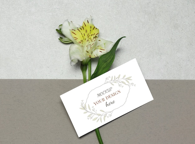 Tarjeta de visita de la maqueta con la flor en fondo beige gris