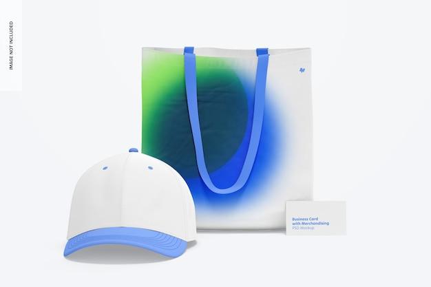 Tarjeta de visita con maqueta de merchandising, vista frontal