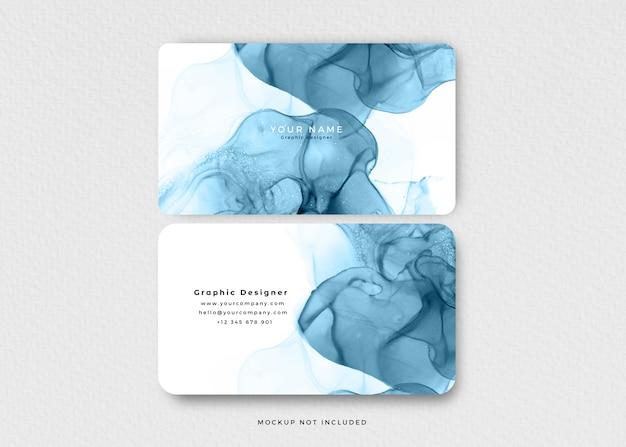 Tarjeta de visita moderna de tinta de alcohol azul