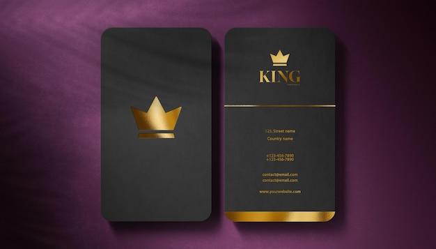 Tarjeta de visita negra de maqueta de logotipo de lujo