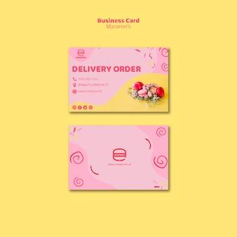 Tarjeta de visita de pedido de entrega de macaron