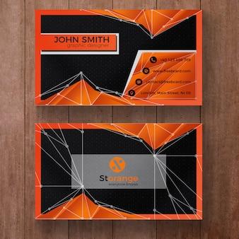 Tarjeta de visita poligonal naranja