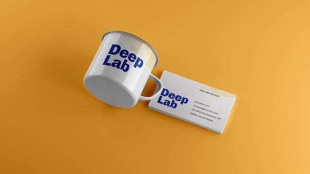 Tarjeta de visita premium con maqueta de taza de esmalte blanco