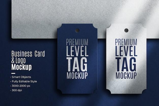 Tarjeta de visita realista y maqueta de logotipo de etiqueta de nivel