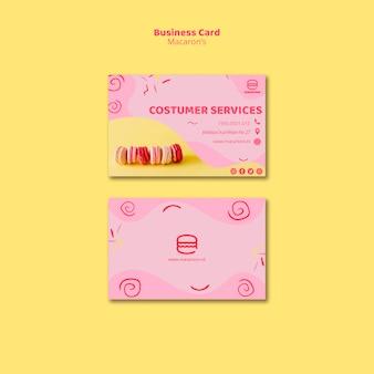 Tarjeta de visita de servicio al cliente de macarons
