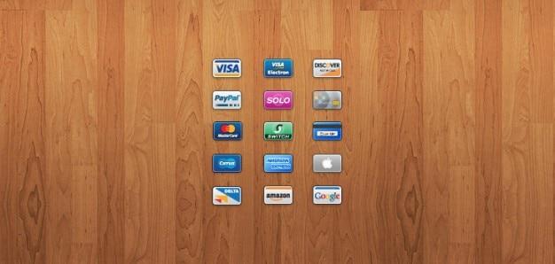 Tarjetas mini: 15 de crédito / débito iconos de tarjetas