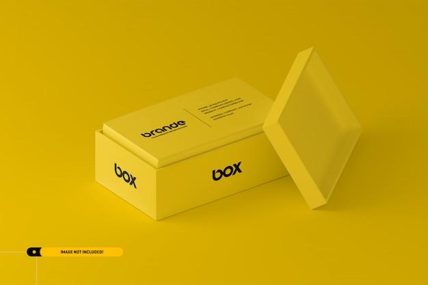 Tarjetas de presentación en una maqueta de caja