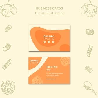 tarjetas de visita de restaurantes italianos