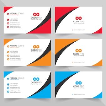 Tarjetas de visita en varios colores