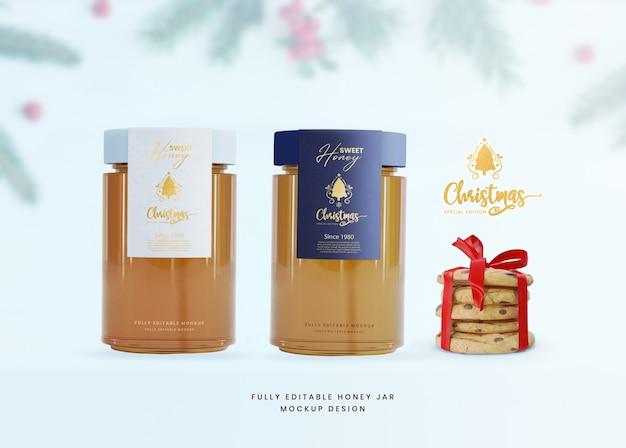 Tarro de comida de vidrio de miel de maqueta 3d para presentación de producto