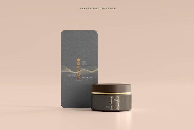 Tarro cosmético con maqueta de tarjeta vertical