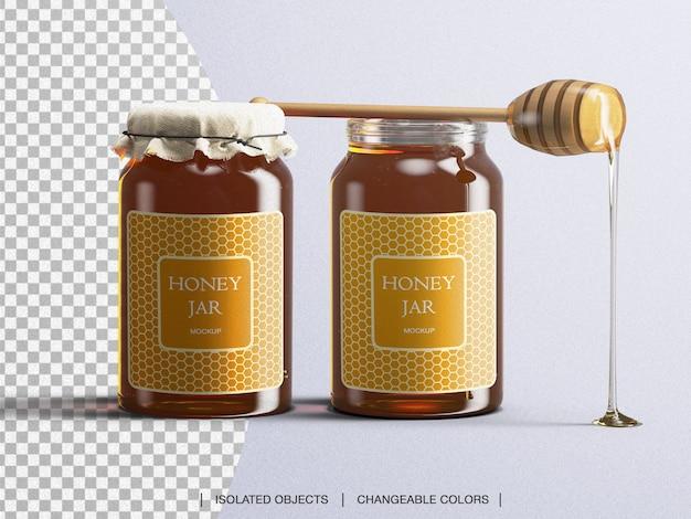 Tarro de miel maqueta de botella de vidrio de embalaje con cuchara de miel aislada