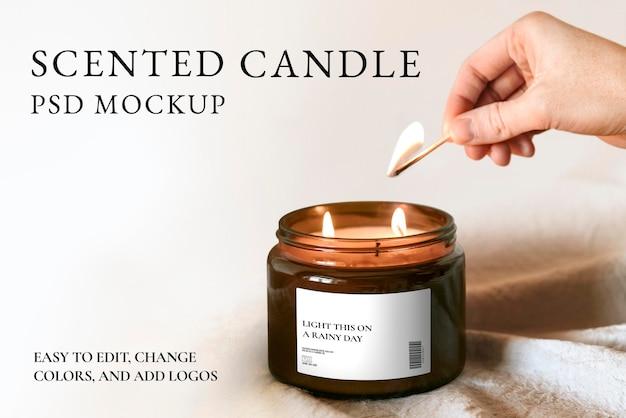 Tarro de vela perfumada maqueta psd estilo minimalista