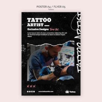 Tattoo artiest poster sjabloon