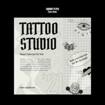 Tattoo studio vierkante flyer ontwerpsjabloon