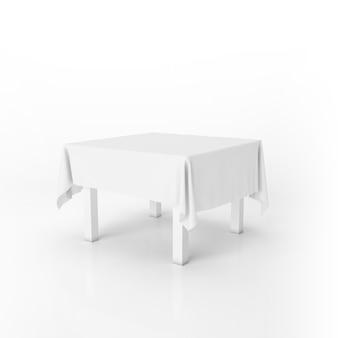 Tavolo da pranzo mockup con un panno bianco