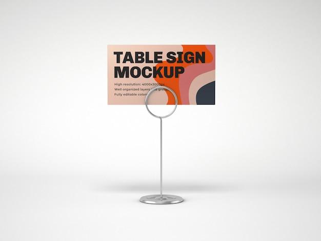 Tavolo segno con supporto metallico mockup