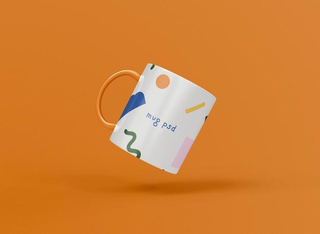 Taza de café 3d levitando