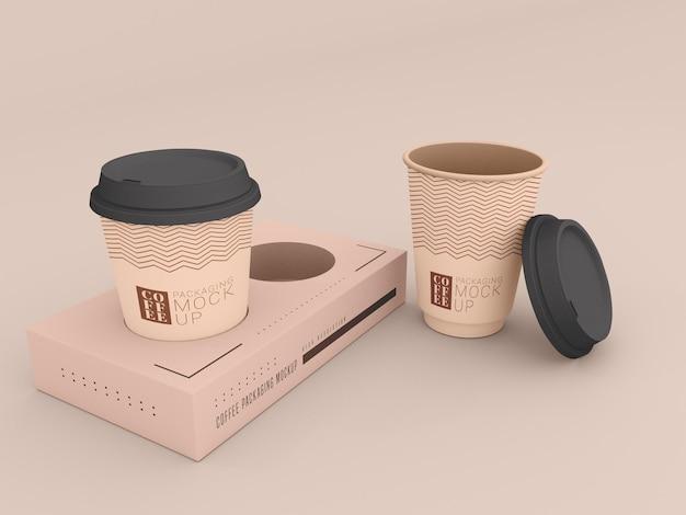 Taza de café desechable con maqueta de caja