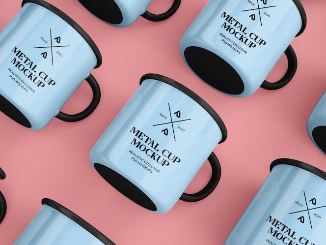taza de café esmaltada maqueta de taza
