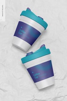 Taza de café con maqueta de tapa, vista superior