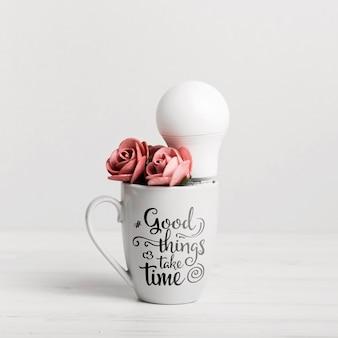 Taza de cerámica con cita motivacional