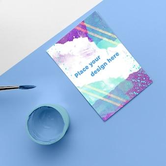 Taza y maqueta de póster de vista superior