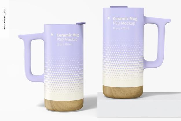 Tazas de cerámica de 16 oz con maqueta de base de madera