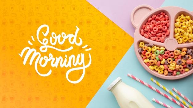 Tazón con diferentes cereales y botella con leche